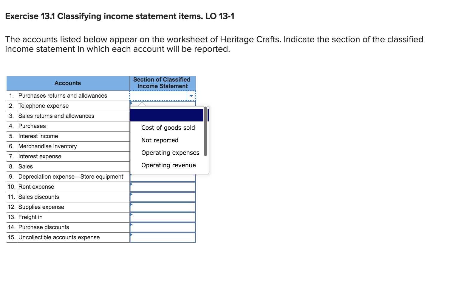Solved Exercise 13 1 Classifying Income Statement Items