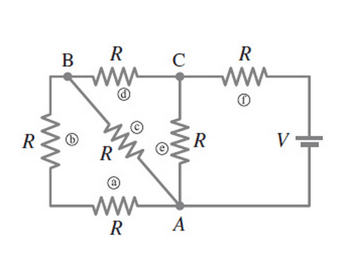 Calculate the current through each resistor in the figure