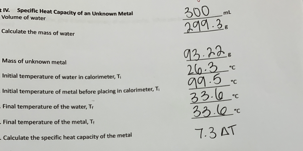 Solved: IV. Specific Heat Capacity Of An Unknown Metal Vol