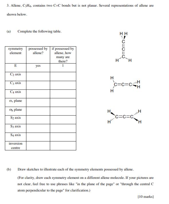 C3h4 : Solved:, Allene,, C3H4,, Contains, Bonds, Pl..., Chegg.com