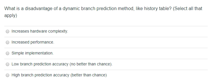 Solved: What Is A Disadvantage Of A Dynamic Branch Predict
