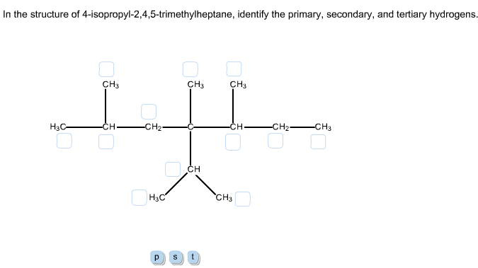 In The Structure Of 4-isopropyl-2,4,5-trimethylheptane