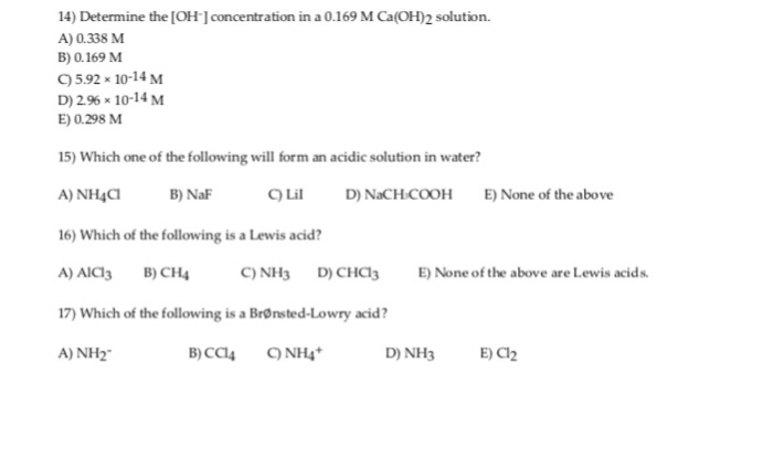 Solved: 14) Determine The [OH- Concentration In A 0.169 M