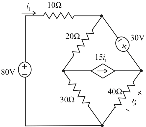 Solved: Determine υ3 in the circuit of Fig. 4.27.FIGURE 4