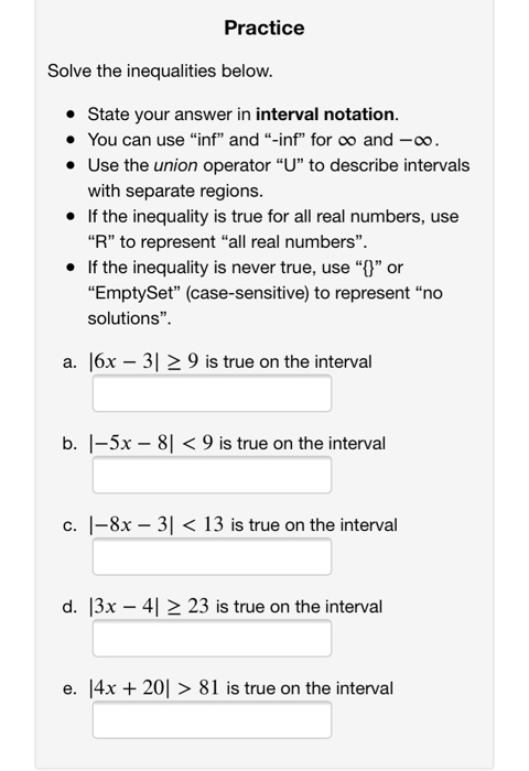 Interval Notation Practice : interval, notation, practice, Solved:, Practice, Solve, Inequalities, Below., State, You..., Chegg.com