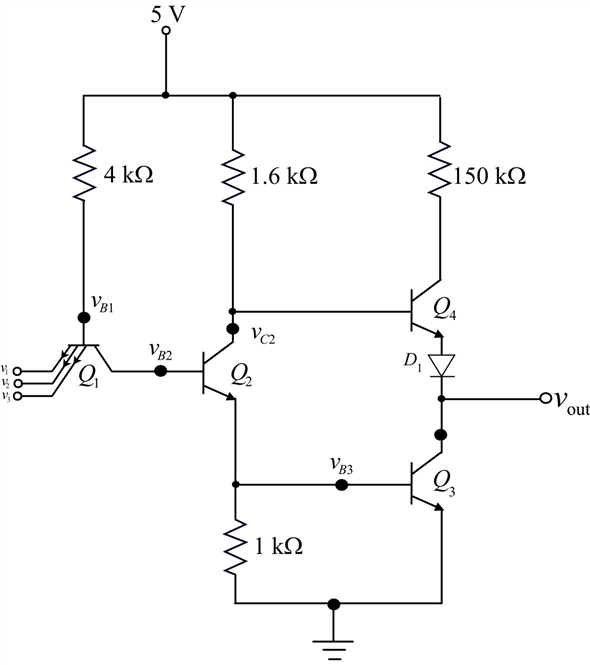 Solved: Figure P10.50 shows a three-input TTL NAND gate