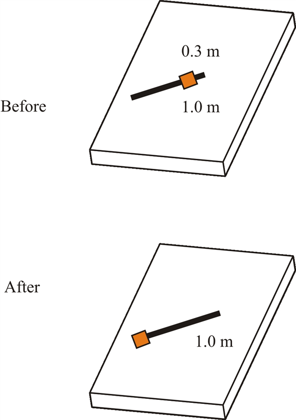 Solved: A 1.0-m-long massless rod is pivoted at one end