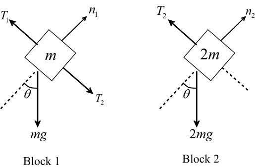 Solved: Two blocks of masses m and 2m are held in