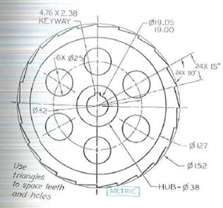 Draw the ratchet wheel using pencil. omit the dimension