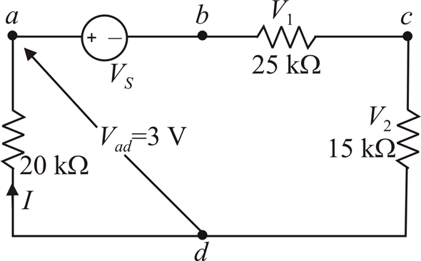 Solved: In the network in Fig. E2.11, if Vad is 3 V, find