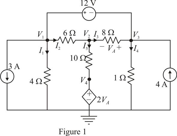 Solved: Use nodal analysis to find V1, V2, V3, and V4 in