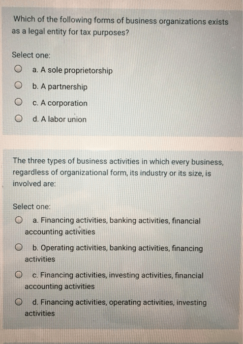 Solved: Which Of The Following Forms Of Business Organizat... | Chegg.com