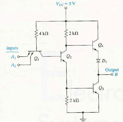 Solved: Figure shows a two-input TTL NAND gate. The