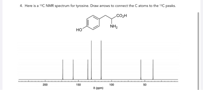Solved: 4. Here Is A 13C NMR Spectrum For Tyrosine. Draw A
