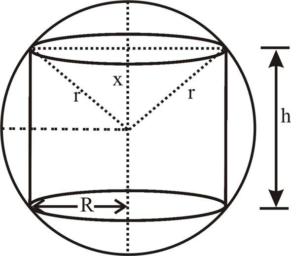 Solved: A right circular cylinder is inscribed in a sphere