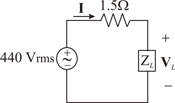 Solved: A 440 V rms source supplies power to a load ZL