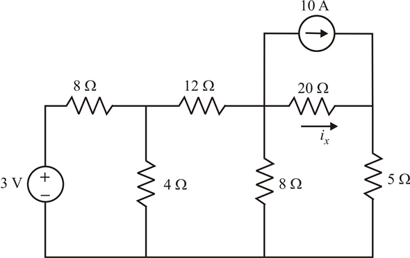Solved: Calculate the current ix, in the circuit of Fig. 4