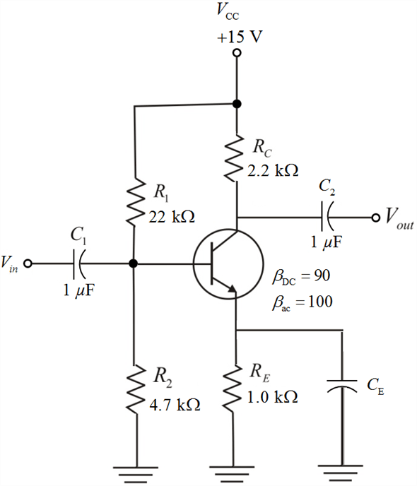 Solved: Connect a bypass capacitor across RE in Figure 1