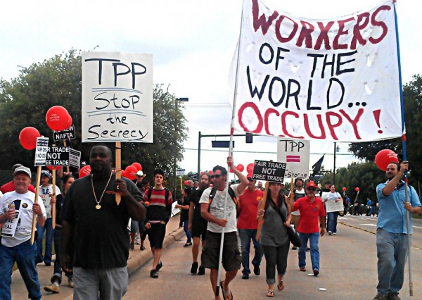 Protest against Trans Pacific Partnership in 2012.