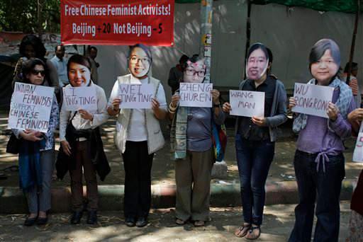 在印度有人抗議要求釋放五名中國婦運人士