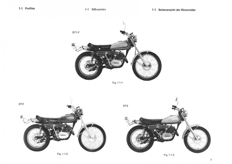 Yamaha DT 250 and 360, RT 1 2 3 F DT1-F DT2 DT3, RT1-F RT2