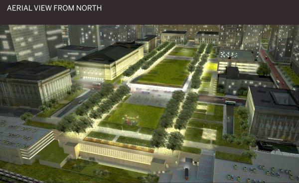 Lmn Architects Propose Sloping Downtown Cleveland Mall Create Dramatic