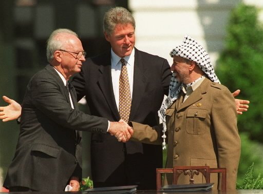 You may remember this iconic photo of Rabin, left, President Bill Clinton, and PLO chairman Yasser Arafat, right, in Washington, Sept.13, 1993
