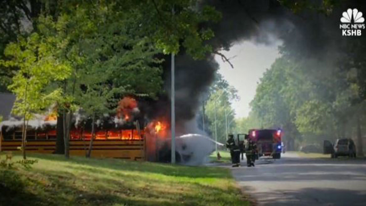 Driver saves children from burning school bus