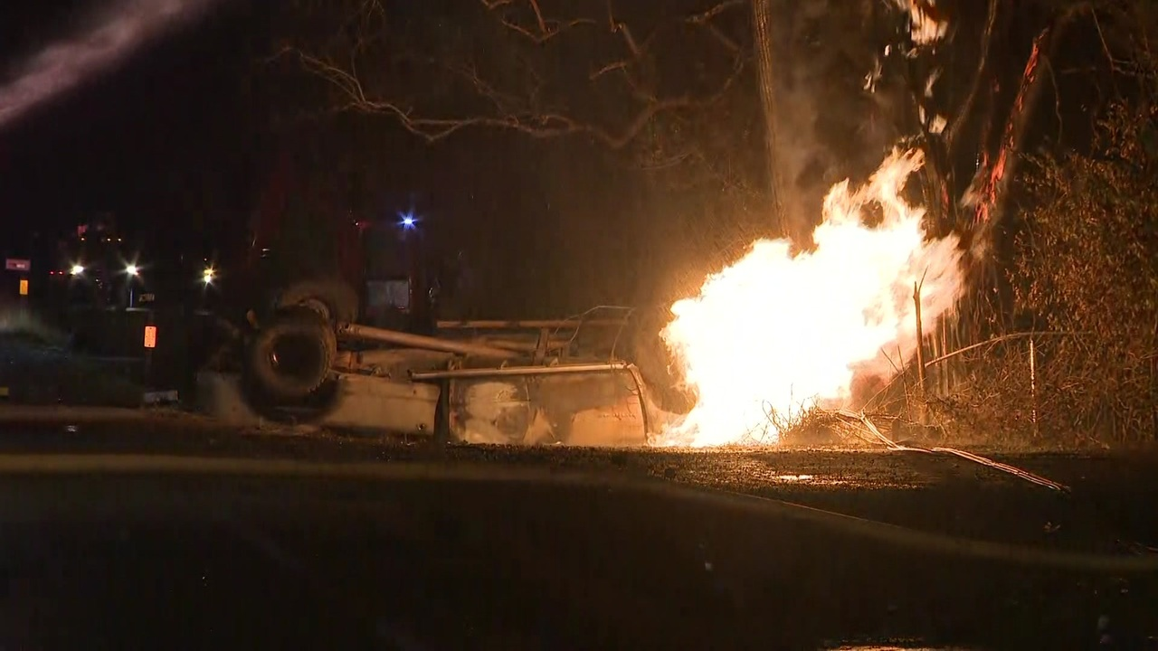 Rollover crash causes power outage gas line fire in Dickinson