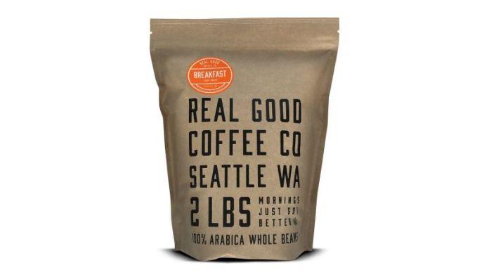 Real Good Coffee Co Whole Bean Coffee, Breakfast Blend Light Roast, 2 Pound Bag