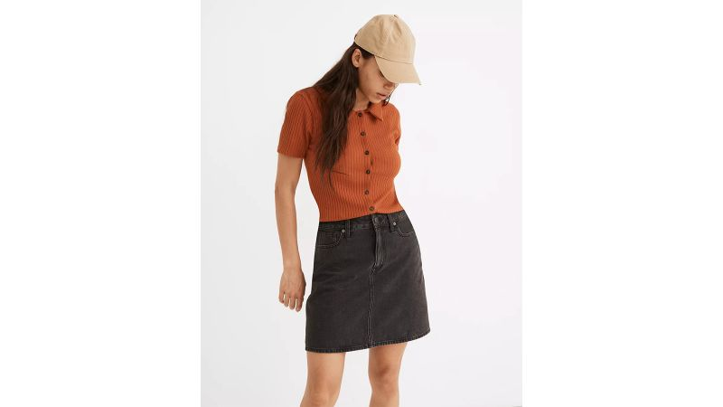 Curvy Rigid Denim High-Waist Straight Mini Skirt in Berridge Wash