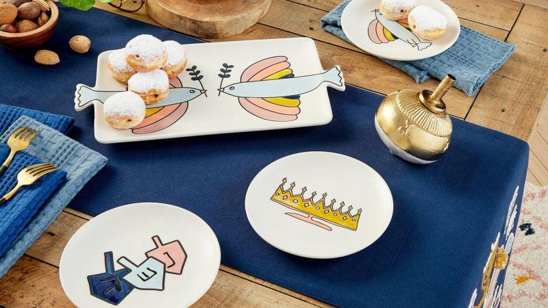 Opalhouse Designed With Jungalow Stoneware Hanukkah Appetizer Plates, 4-Pack