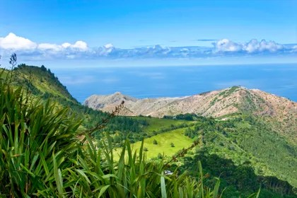 Landscape of St Helena Island. Looking towards the Atlantic Ocean.