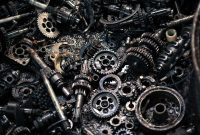 burnt, charred, gears