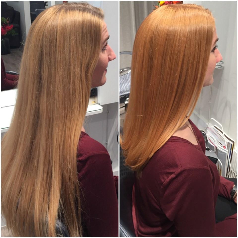 Linda fick en ordentlig klippning och en vacker strawberryblond hårfärg...