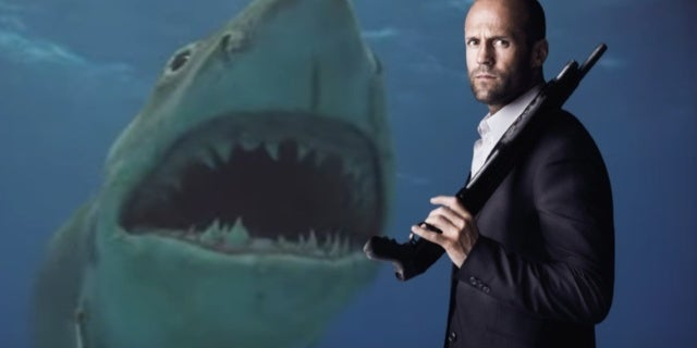 Great White Shark Jumping At Helicopter A Massive Megalodon Stares Down Jason Statham In New 'the