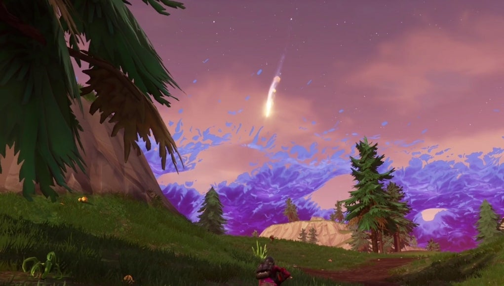 Fortnite Wallpaper Falling From The Sky Fortnite Explosive New Meteors Spotted Over Tilted Towers