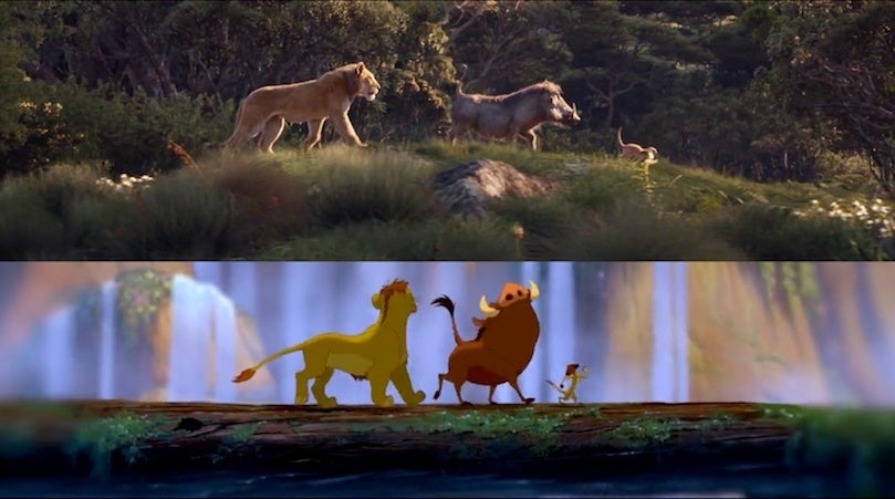 the lion king trailer 2019 side by side