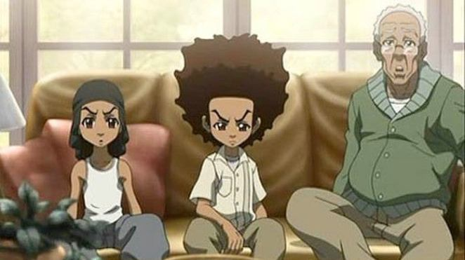The Boondocks sat on a couch