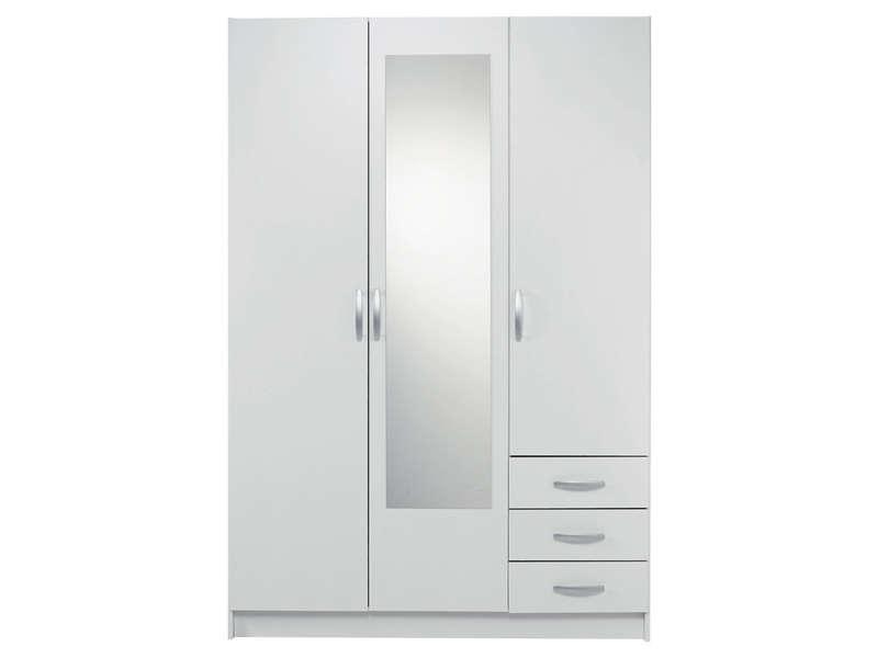 armoire 3 portes 3 tiroirs spot coloris blanc vente de armoire conforama