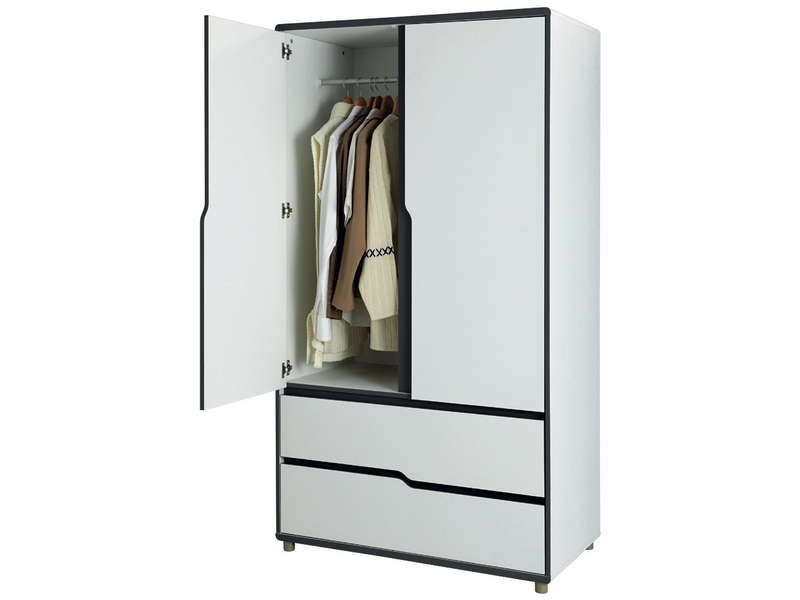 armoire 2 portes 2 tiroirs moby pas