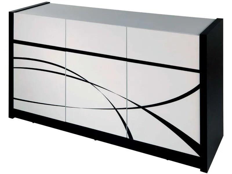 Buffet 3 portes  3 tiroirs DALLAS coloris blancnoir  Vente de Buffet bahut vaisselier