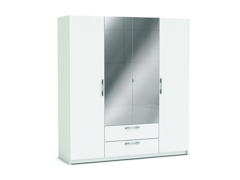 armoire 4 portes 2 tiroirs jupiter coloris blanc vente de armoire conforama
