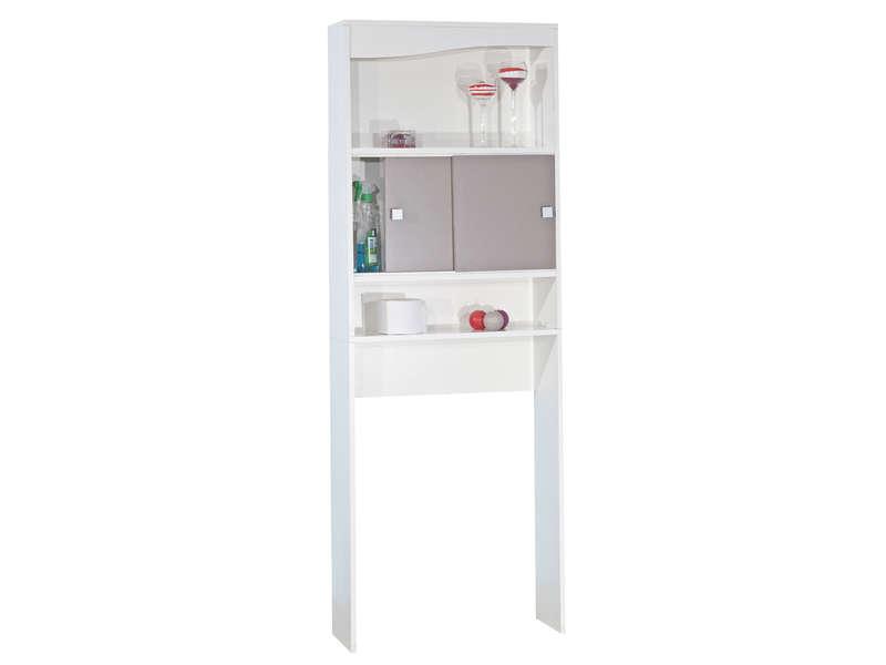 pont rangement l 64 3 cm eos coloris blanc taupe vente de armoire colonne etagere conforama
