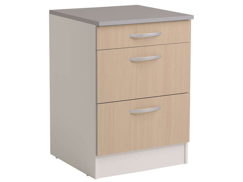 meuble bas 60 cm 1 tiroir 2 caissons spoon color coloris chene vente de meuble bas conforama