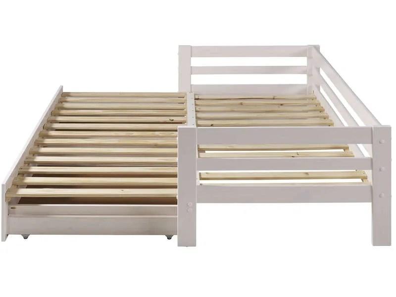 Lit banquette gigogne 90x190 cm SUPERCOZY coloris blanc  Vente de Lit enfant  Conforama
