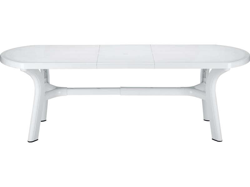 Table de jardin ovale 90x180 cm PAGODA coloris blanc  Vente de Table de cuisine  Conforama