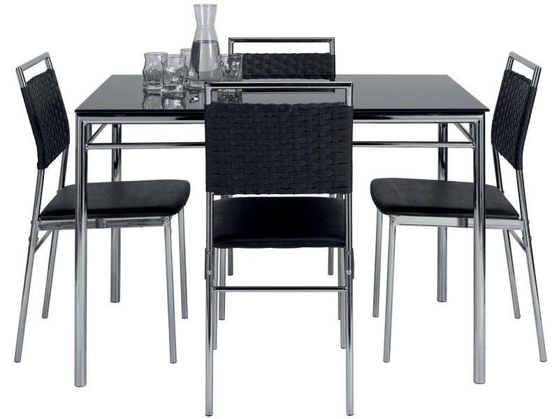 ensemble table et de 4 chaises jade coloris noir vente de ensemble table et chaise conforama