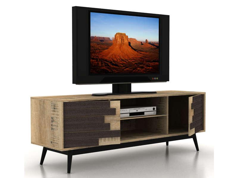 Meuble TV 140 Cm ETHNICA Coloris Grisnoir Pieds En Mtal