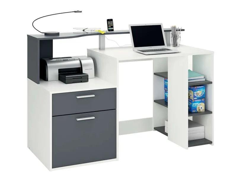 Bureau 140 Cm ORACLE Coloris Blanc Et Gris Vente De